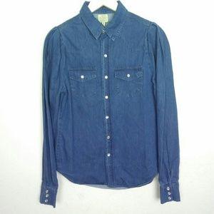 NWT Torn Ronny Kobo Blue Chambray Pearl Snap Shirt